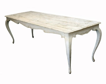 398 Hand carved dining table antique white painted finish