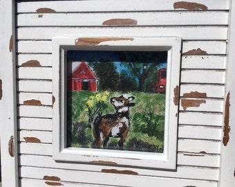 Baby Goat, Kid, Rustic Frame, Farm Animal, Red Barn, Horse Trailer, 8 x 8