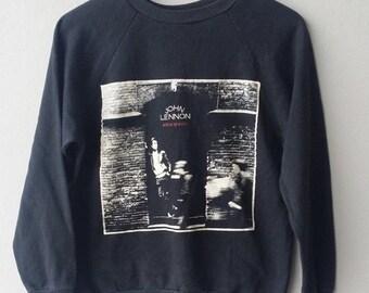 Sale jun Vintage JOHN LENNON the beatles sweater rock and roll medium cotton 80's pop yoko ono sweater jacket