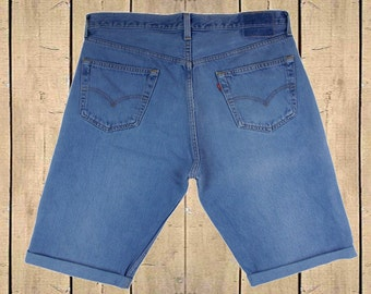 Vintage Levis 501 Shorts Turn Ups USA 1990s Soft Blue Denim Button Fly Red Tab High Waisted 90s Measure As W35