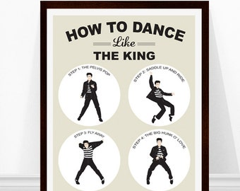 Elvis Art, Elvis Presley Print, Elvis Illustration, Elvis Poster, Jailhouse Rock Dance, How to dance like the king