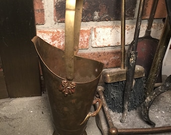 Vintage Brass Scuttle Bucket Fireplace Match Holder Made in India