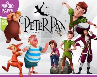 Peter Pan Clipart - Disney Digital 300 DPI PNG Images, Photos, Scrapbook, Digital, Cliparts - Instant Download