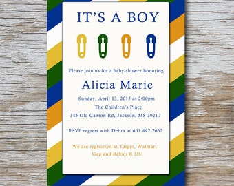 5 x 7 Diaper Pin Baby Shower Invitation (DIGITAL FILE) Available in two different colors. Pins; diaper; its a boy; its a girl;