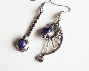 Earrings ethnic asymmetric - Amethyst - silver
