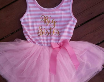 Big Sister Dress attached foofy tutu skirt