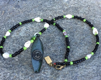 Green Wooden NA Surf Board Necklace with Shells
