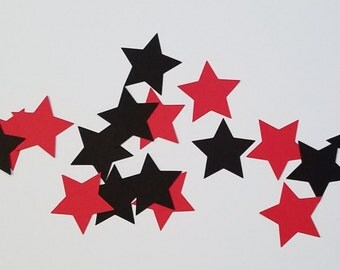 "Jumbo Red and Black Star Confetti, Star Confetti, Jumbo Confetti, Giant Confetti, 2"" Stars, Die Cut Stars, Cardstock Stars"