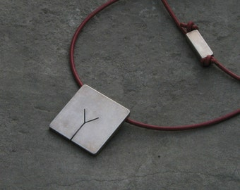 VIRGO. Contemporary men's pendant. Handmade, sterling silver.