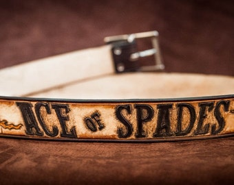 Leather belt engraved Ace of Spades
