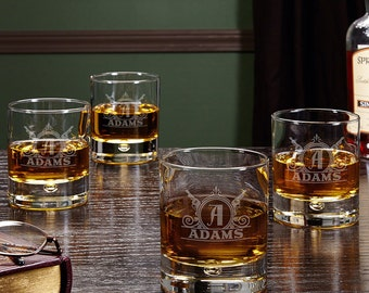 Roosevelt Personalized Whiskey Glasses, Set of 4 - Rocks Glasses, Home Bar, Custom Whiskey Glasses