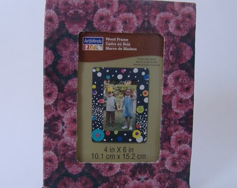 Fabric Covered Picture Frame, Pink Puffy Flowers Photo Frame, Upcycled Picture Frame, Abstract Flowers Frame
