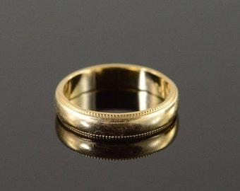 1 Day Sale 14K 3.5mm Milgrain Wedding Band Ring Size 4.25 Yellow Gold