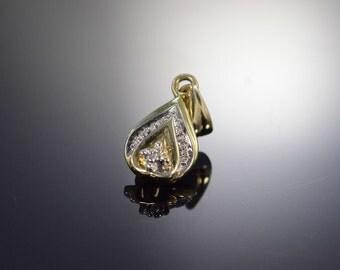 9K Diamond Tear Drop Pendant Yellow Gold - EM678