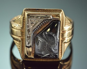 10K 0.01 CT Diamond Intaglio Men's Ring - Size 9.25 / Yellow Gold - EL8954