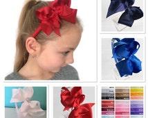 Cute headband, school headband, alice band, double bowtique bow headband
