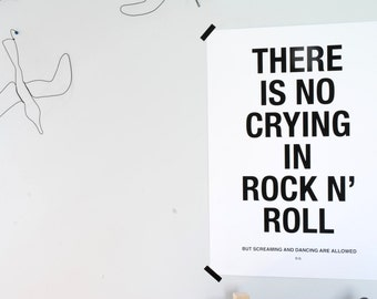 There Is No Crying In Rock N' Roll Print - Screenprint - Monochrome - Kids Room