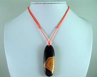 Neon Hunters Orange Satin Cording Agate Pendant Necklace