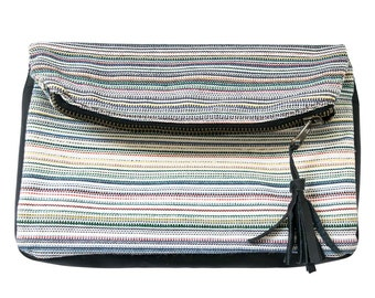 Striped Canvas and Leather Clutch Bag Handmade by Hide & Drink