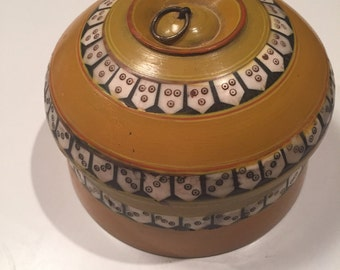 Wooden Painted Bowl with Inlay