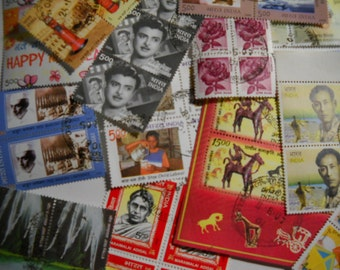 46 Postage Stamps India Leaders Celebs Gandhi Art Architecture and More Free Shipping in USA