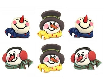 SET of 6 VERY detailed Winter Snowman 3D Shank Buttons