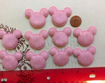 SET of 10 Pink Furry Felt Padded Mouse Heads Appliques/Mickey/Minnie