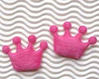 SET of 15 Hot Pink Padded Furry Felt Crown Appliques