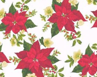 Poinsettia Christmas Large    Andover Cotton Quilt Fabric    BFab    By the Yard