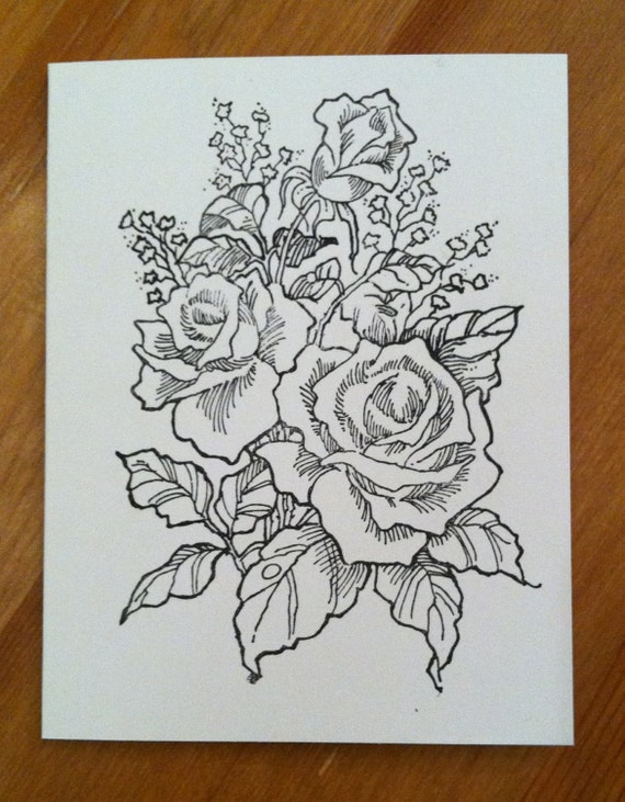 Prettyfolio roses hand stamped color your card set of 8adult coloring m4hsunfo
