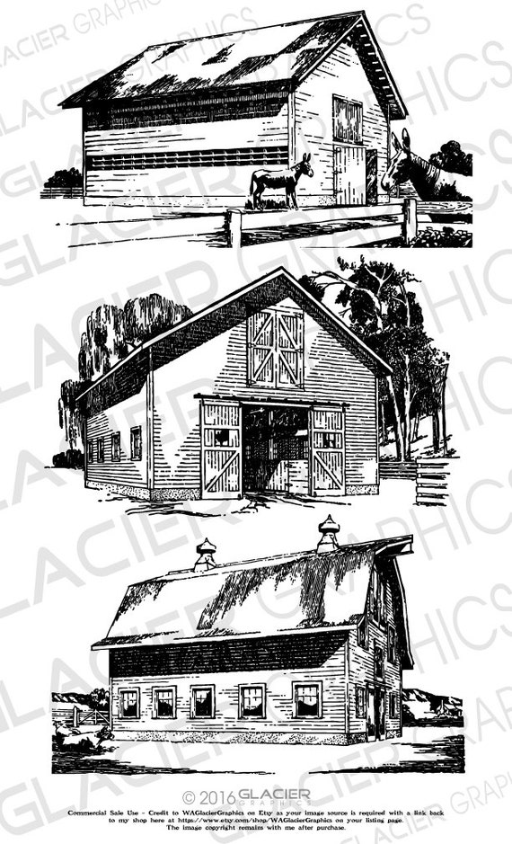 3 Barn Illustrations Vintage Barn Clipart Vector Copyright