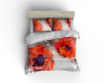 Watercolor poppy flower pattern duvet cover