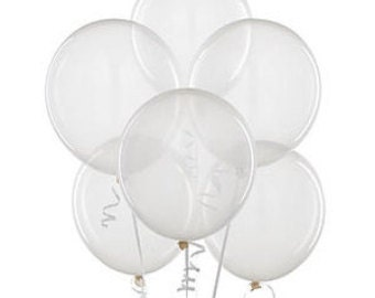 "Large Round ClearLatex Balloons/ 4 CT Large Clear Balloons/ XL 24"" Inch Round Clear Balloons/ Clear Party Balloons"