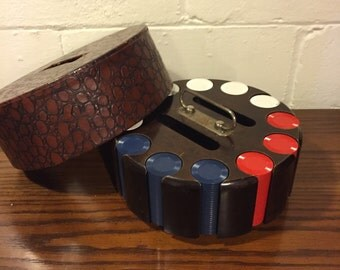 Vintage Poker Chip Caddy with Chips on lazy susan