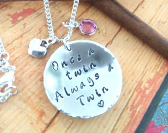 Hand Stamped Twin Necklace,VTS Necklace,Birthstone Necklace,Vanishing Twin Syndrome Necklace,Charm Necklace,Necklace for a Twin,Sister Gift