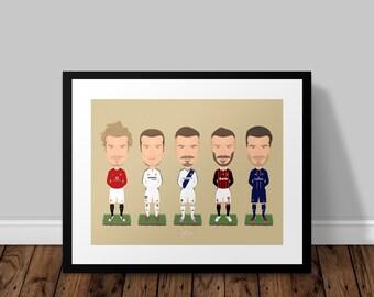 David Beckham Illustrated Poster Print | A6 A5 A4 A3