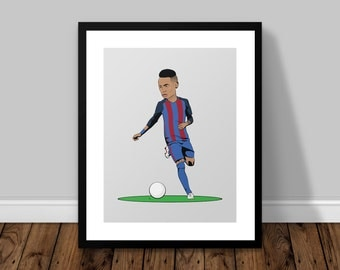 Neymar Jr Barcelona Illustrated Poster Print | A6 A5 A4 A3
