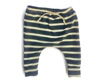 Baby Toddler Black and Cream Stripes Harem Sweats