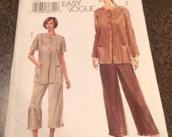Vogue Sewing Pattern 7753 Petite Tunic Pants Front Princess Seams Size 8 10 12 New FF Uncut