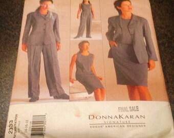 Vogue 2333 Sewing Pattern Donna Karan Jacket Top Skirt Pants Loose Fitting  Size 14 16 18 Unlined   Uncut FF