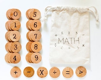 Wood Math Set Educational Game / Math Set / Montessori Math / Kindergarten Math / Preschool Math / Homeschool Math / Math Activities