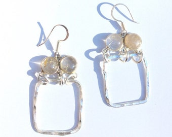 """Silver Hammered Squares and Rhodolite Dangle Earrings 2"""""""
