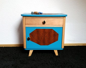 Small cupboard or nightstand vintage wood and blue