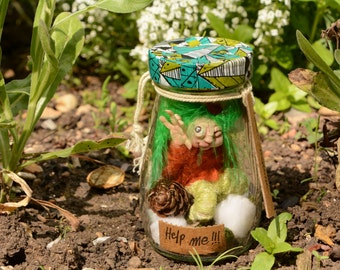 OOAK captured gnome in a jar in polymer clay handmade