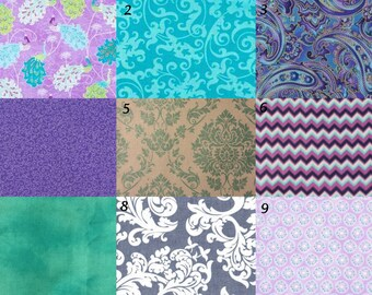 Purple Teal Baby Bedding - Crib Sheet, Changing Pad Cover, Crib Skirt - purple teal turquoise grey