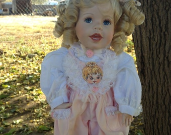 "Hamilton Collection Porcelain Doll Lauren 16"" Precious Little Angel Pink"