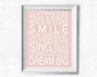 Nursery Wall Art, Princess Quote Printable, Pale Pink Nursery, Maya Jane Art, 8x10 Instant Download
