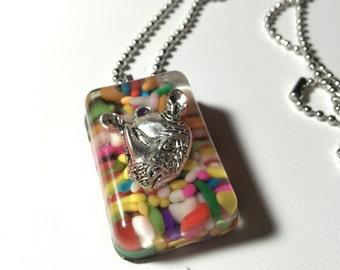 Resin Sprinkle Rhino Necklace