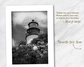 Key West lighthouse 12x18 Black & White fine art print matted to 24x18. Artist signed