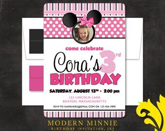 MODERN MINNIE .  birthday invitation
